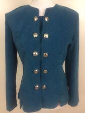 Leslie Fay Elegant Blue Blazer Double Button Long Sleeve Women Petite Size 6
