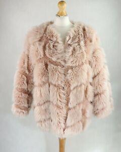 Womens YU & ME PARIS Faux Fur Plush Coat UK Size 14 Short Powder pink 3/4 sleeve
