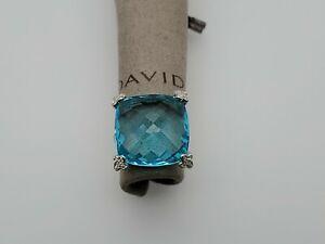 David Yurman Sterling Silver Cushion On Point 20mm Blue Topaz Diamond Ring Sz 8