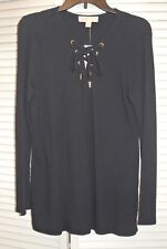 NWT Michael Kors Women's NAVY Lace-Up Tunic Pullover Sweater Long Sleeve  Size M