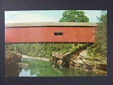 Marshall Indiana Lusk Mill Covered Bridge Sugar Creek Turkey Run Postcard 1955