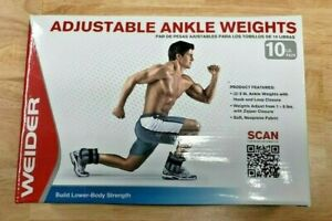 Weider Adjustable Ankle Weights - 10lb Pair (2 x 5lbs) - New - Same Day Shipping