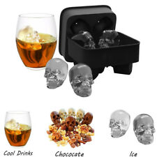 Cocktail Whiskey Skull Shape 3D Ice Cube Mold Food Silicone Maker Tray Bar Party