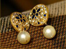 22k Gold Natural Blue Sapphire & Pearl Gemstone Fine Handmade Earrings Jewelry
