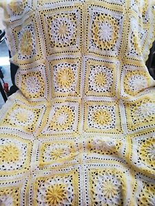 New! Handmade Crochet Blanket Lap Throw Afghan - yellow, white
