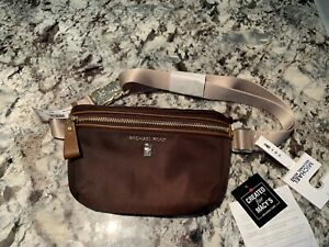 Michael Kors Nylon Fanny Pack Belt Bag Sling Brown/Nutmeg & Gold OS $68 NWT