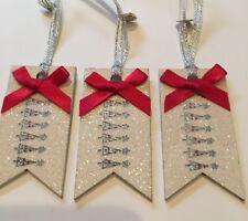 3 x Arbre De Noël Étiquettes-Cadeaux Colis cadeau fait main en bois véritable Crème Rouge argent