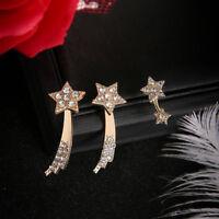 Bling Women Golden Crystal Rhinestone Star Climber Stud Earring Jewelry S