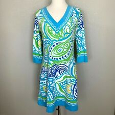 Barbara Gerwit 3/4 Sleeve Dress V Neck Print Blue Size Small S Casual