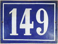 Large old blue French house number 149 door gate plate plaque enamel steel sign