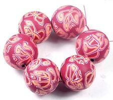 25mm Handmade Polymer Clay Round Pendant Beads Purple (6)