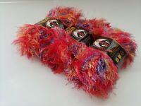Lion Brand Eyelash Yarn Fun Fur Prints Red Multi 302 Mexicana 3 Skeins 161 Yards