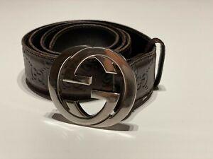 Original GUCCI Ledergürtel GG SIGNATURE Braun - Größe 105