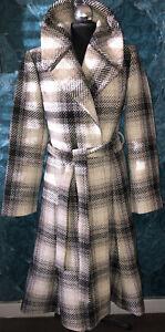 Monsoon 70% Wool Thick Tweed Vintage Fit & Flare Midi Coat UK 14