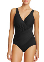 Miraclesuit Womens Black Must Have Oceanus Ruched One Piece Swimsuit Sz 14 6810