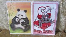 2 x Postkarte Glückwunschkarte Klappkarte Kuvert Motiv Maus + Pandabär 21x15cm