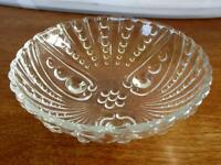 """Vintage Old Clear 3-Footed Scalloped Edge Glass Bowl/Dish ~ 4-5/8"""""""