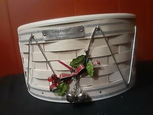 """Longaberger WHITE 10"""" × 5.25"""" Christmas Collection 2012 DRUM Basket w Liner"""