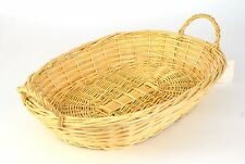 OVAL Wicker Basket with HANDLES 15-1/2 x 11 natural blonde color