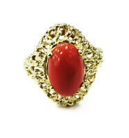 14k Yellow Gold Red Coral Nugget Style Ladies Ring ~ 6.1g