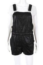 Greylin Anthropologie Womens Sleeveless Leather Romper Black Size Small
