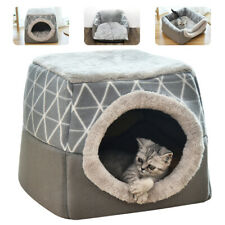 Pet Cat Dog Nest Bed Puppy Soft Warm Cave House Mat Pad Kennel Igloo Gray Black