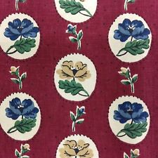 VTG Waverly Fabric Picnic Young at Heart Red w/ Blue Floral 3 yd x 49 Upholstery