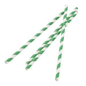 Fiesta Green Biodegradable Paper Straw green Stripes (Pcs 250) (Length 210 mm)