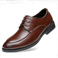 Men's Casual Leather Lace Up Pointed Toe Business Dress Formal Office Work Shoes
