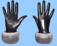 NEW WOMENS size 6.5 GENUINE LEATHER GLOVES - BLUE IRIS MINK FUR TRIM
