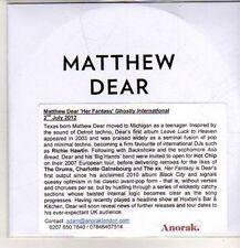 (DB292) Matthew Dear, Her Fantasy - 2012 DJ CD