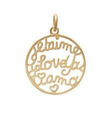 beautiful pendant Round Je t' love HEART Tulle netting plated nine gold