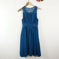 HD IN PARIS Anthropologie Women's Fit & Flare Dress Teal Lace Sleeveless Size 2