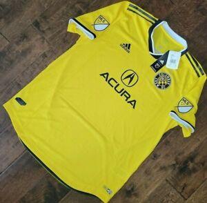 $120 Adidas Columbus Crew SC Authentic Home Soccer Jersey Yellow Men's Size XL