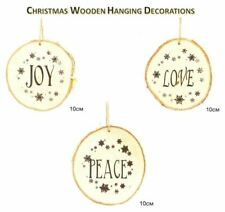 3 Pcs Wooden Hand Crafted Christmas Tree Hanging Xmas Ornaments Decorations 10cm