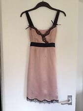 Ladies Stunning Ted Baker Nude & Black Silk Long Cami Top, Tie Belt-Size 2,UK 10