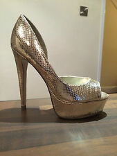 LIPSY Gold Sparkle Metallic Party Peep Toe Platform Shoes Size 7 Brand New