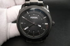 New Old Stock FOSSIL Machine FS4775 Date Black Stainless Steel Quartz Men Watch