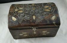 Vintage Wooden Trinket Box with Mother of Pearl Inlay