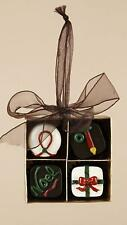 """Chocolate Shop 4-Piece Candies in Square Gift Box Christmas Ornament 2.75"""""""