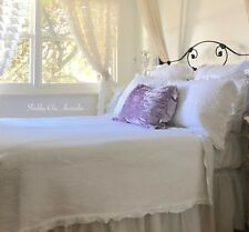 Vintage White Chic Shabby Country Ruffle Single Bed Quilt Coverlet Bedspread Set