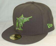 NEW Era 59fifty FLORIDA MARLINS Baseball Hat GRAY & GREEN cap SIZE 7-3/8 MLB FLA