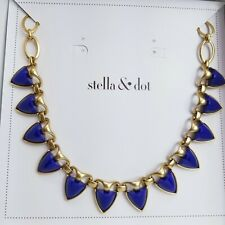 Stella & Dot LOTTIE NECKLACE Spike Blue Gold NIB Rare