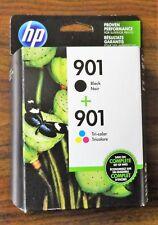 GENUINE HP 901 Black + 901 Tri-Color INK CARTRIDGE TWIN PACK OEM SEALED EXP 2019