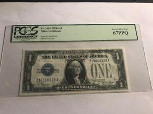 1928 A $1 Fr. 1601 SILVER CERTIFICATE BLUE SEAL PCGS Superb Gem New 67PPQ