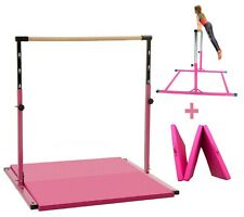 5 Ft Horizontal Bar Athletic Teens Adjustable Kip Gymnastics Junior +6' x 4' Mat