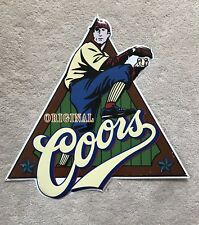 Original Coors Baseball Beer Tin Sign For Man Cave