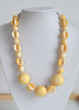 Necklace with interesting built beads chunky Vintage cream yellow Plastic beaded