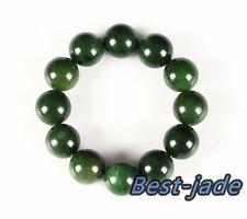Cert Top Grade Apple Green Nephrite Jade Beads Bangle Bracelet 18mm NZ Pounamu