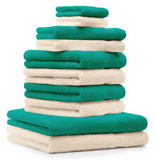 Betz lot de 10 serviettes Premium: vert émeraude & beige, 100% coton